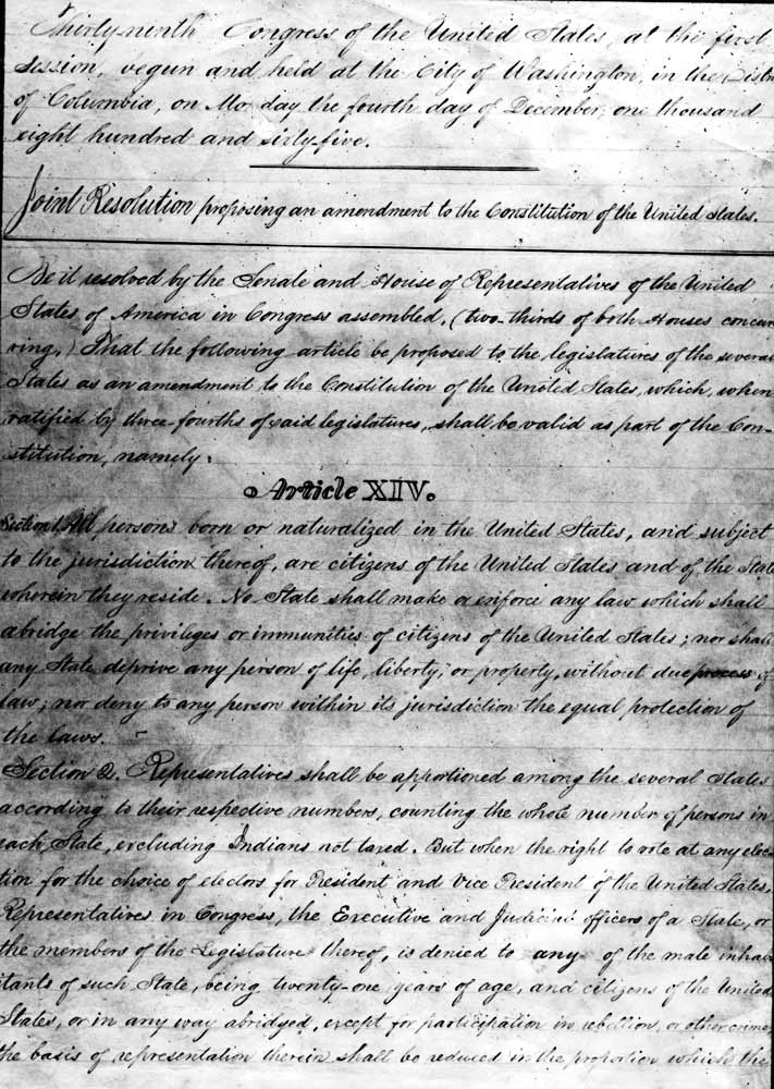 14th amendment of u s constitution takes effect featured